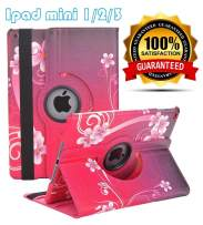 LayYun iPad Mini 1/2/3 Case - 360 Degree Rotating Stand Case Cover with Auto Sleep/Wake Feature for iPad Mini 1/iPad Mini 2/iPad Mini 3 (Red Peach Heart)