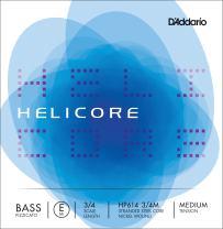 D'Addario Helicore Pizzicato Bass Single E String, 3/4 Scale, Medium Tension