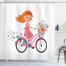 "Ambesonne Flower Shower Curtain, Happy Little Girl with Bunch of Flowers Riding a Bike Cheerful Childhood Activity, Cloth Fabric Bathroom Decor Set with Hooks, 75"" Long, Pink Orange"