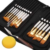 Paint Brushes Set for Acrylic Oil Painting 15Pcs Professional Canvas Paint Brush Kit with Palette Knife Sponge Pop-Up Carrying Case for Artists Kids Beginner
