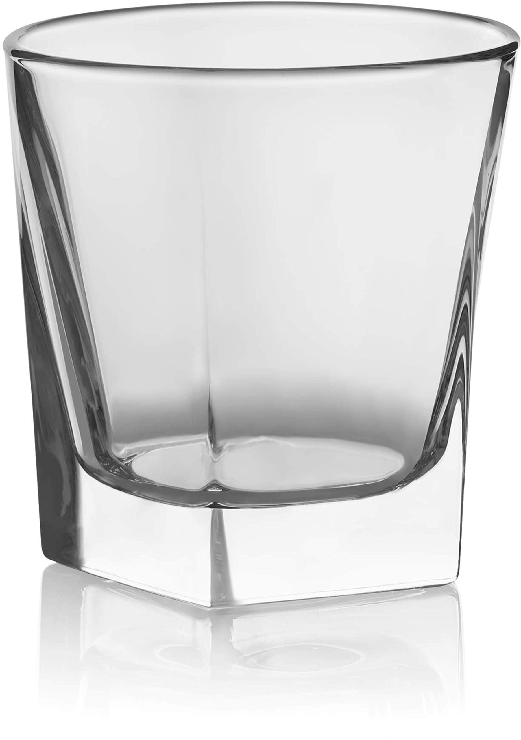 Circleware Ice Cube Heavy Base Whiskey Glass, Set of 4, Kitchen Entertainment Drinking Glassware for Water, Juice, Beer and Bar Liquor Dining Decor Beverage Cups Gifts, 10 oz
