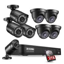 ZOSI 1080p H.265+ PoE Security Camera Systems Outdoor Indoor, 5MP 8 Channel PoE NVR Recorder and 8 x 2MP Surveillance CCTV Bullet Dome IP Cameras with Long Night Vision (2TB Hard Drive Built-in)