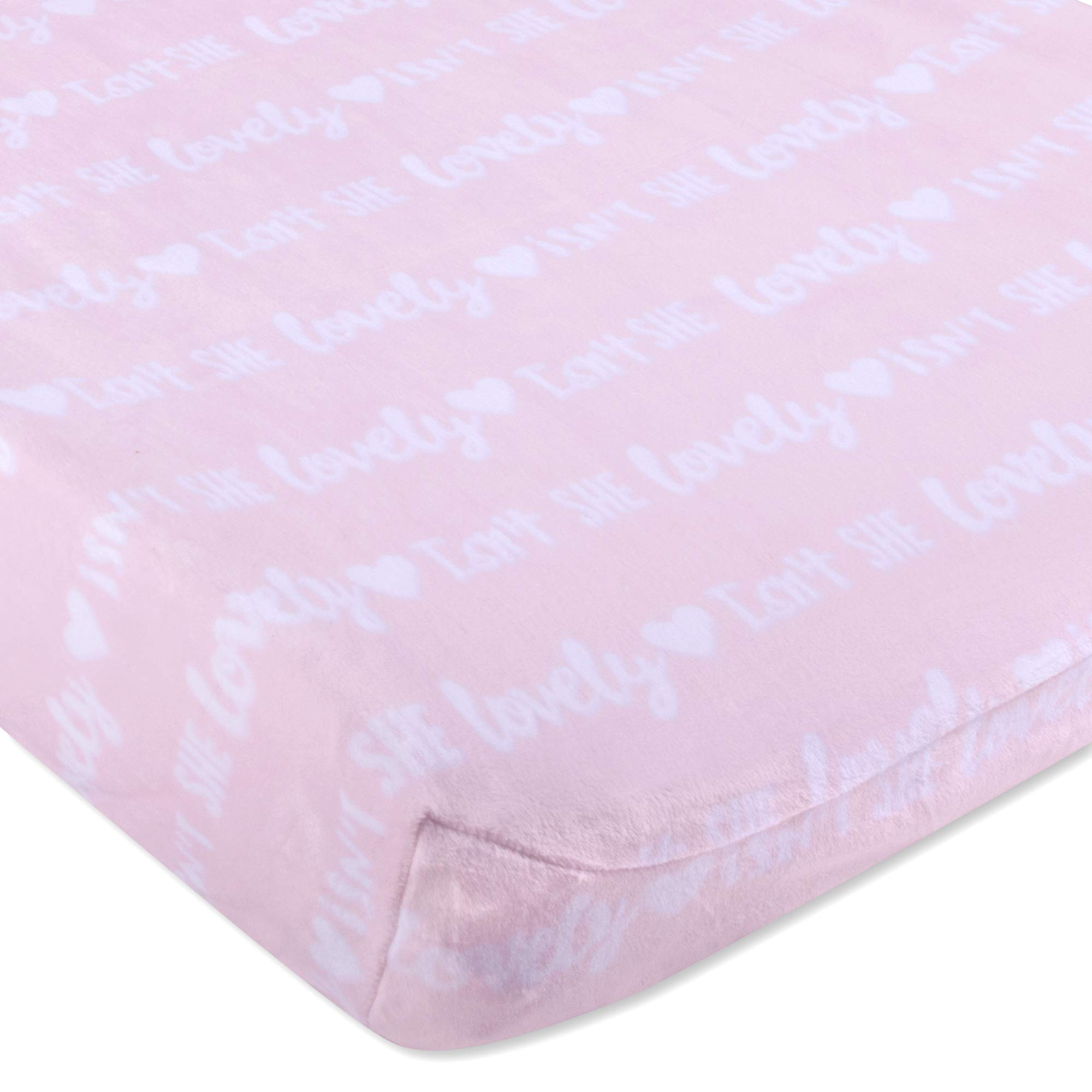Wendy Bellissimo Velboa Contoured Diaper Pad Cover for Diaper Changer (32x16x6) - Isn't She Lovely in Pink/White