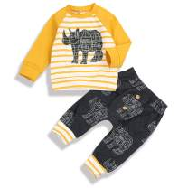 Infant Baby Boy Girl Clothes Long Sleeve Sweatshirt Striped Animal Print Pants Fall Winter Outfit Set