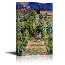 """wall26 - The Artist's Garden at Vetheuil by Claude Monet - Canvas Print Wall Art Famous Oil Painting Reproduction - 24"""" x 36"""""""