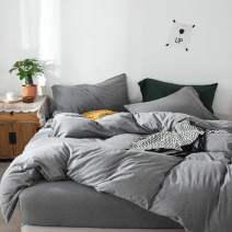 FOSSA Jersey Knit 3 Pieces Duvet Cover Set King Dark Grey T-Shirt Heathered Cotton Super Soft Comfortable