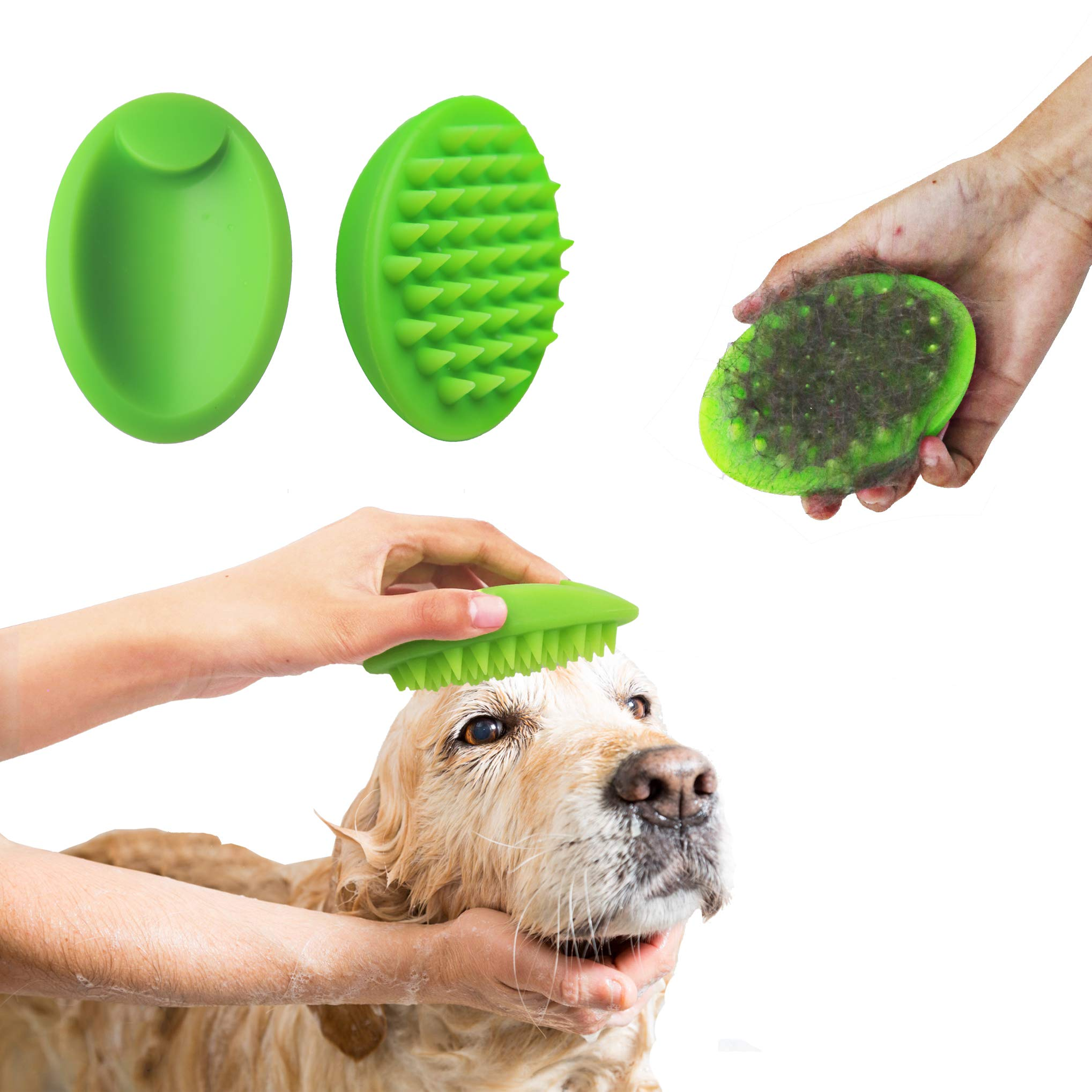 Blingbrione Cat&Dog Soft Silicone Deshedding Brush for Bath/Massaging/Grooming Pets, Loose Undercoat Remover/Skin Cleaner/Making Hair Gloss, Gently Comb Suitable for Short Long Hair pets.