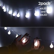 Lalapao Global String Lights 2 Pack 19ft 40 LED Starry Lights Battery Powered Xmas Fairy Light Christmas Lighting Decor Waterproof for Outdoor Indoor Tree Partly Garden Wedding Decorative (White)