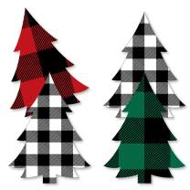 Big Dot of Happiness Holiday Plaid Trees - Decorations DIY Buffalo Plaid Christmas Party Essentials - Set of 20