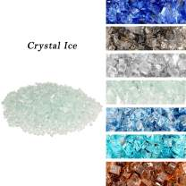 """Skyflame High Luster 10-Pound Regular Fire Glass for Fire Pit Fireplace Garden Landscaping Crystal Ice 1/4"""" Size"""