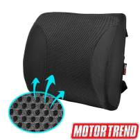 Motor Trend MeshBreeze Lumbar Support Pillow for Car, Black – Orthopedic Seat Cushion, Helps Relieve Lower Back Pain, Great for Office Chairs