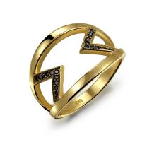 Trendy Geometric Black Cubic Zirconia Two Tone CZ Chevron V Band Ring For Women For Teen 14K Gold Plate Sterling Silver