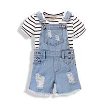 Toddler Baby Outfits Denim Jeans Jumpsuit Girls Bodysuit Overall Romper Halter Sleeve Romper Clothes for Girls Stripe 1-2T