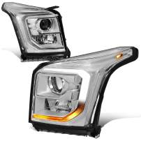 Pair of LED DRL+Turn Signal Chrome Clear Projector Headlight Lamps Replacement for GMC Yukon XL 15-20