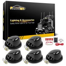 Partsam 5X Smoke Cab Marker 1313S Round Roof Running Lights + 5X T10 194 5050 White LED Bulb + Wiring Pack Compatible with Chevrolet/GMC C1500 C2500 C3500 K1500 K2500 K3500 1969-1987