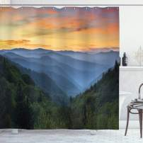 """Lunarable Misty Mountains Shower Curtain, Outdoor Scene Photo with Forest at Sunset Smokey Valley Print, Cloth Fabric Bathroom Decor Set with Hooks, 84"""" Long Extra, Multicolor"""
