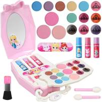 Geyiie Kids Makeup Kit for Girls, Washable Kids Play Makeup Set Pretend Makeup for Girls Real Makeup Play Kids Cosmetics Set Safe & Non-Toxic Makeup Gift for Christmas Birthday Ages 3 and up