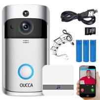 OUCCA Video Doorbell, WiFi Smart Wireless Doorbell, 720P HD Security Home Camera Real-Time Video and Two-Way Talk with Phone Apps, Night Vision, PIR Motion Detection, Includ Batteries and SD Card