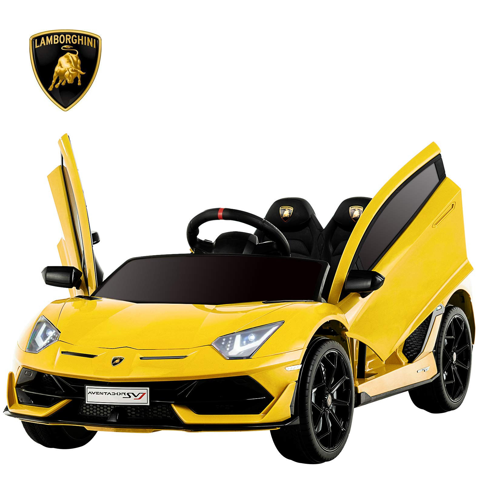 Uenjoy 12V Kids Electric Ride On Car Lamborghini Aventador SVJ Motorized Vehicles with Remote Control, Battery Powered, LED Lights, Wheels Suspension, Music, Horn,Compatible with Lamborghini,Yellow