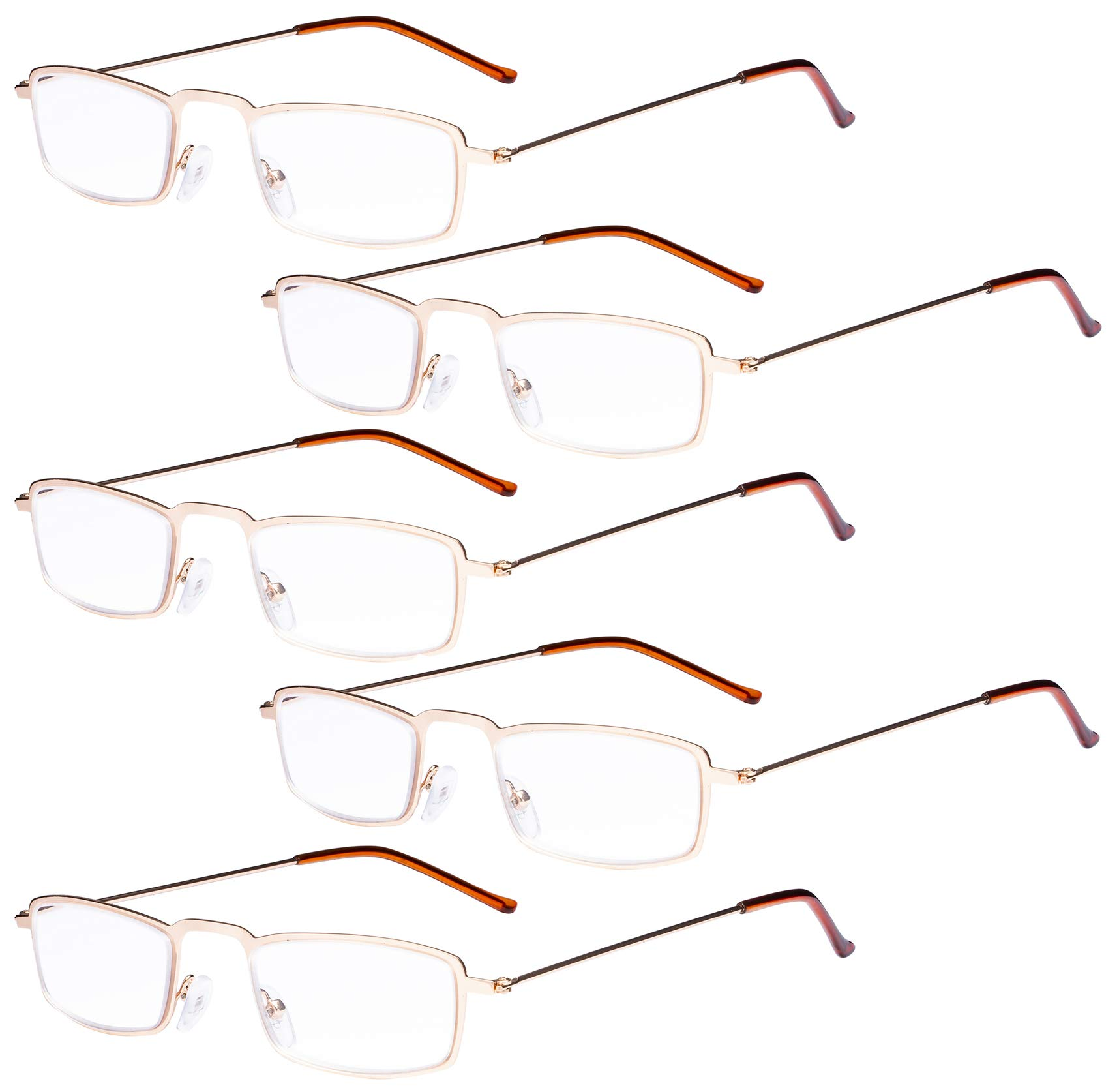 Eyekepper 5-Pack Straight Thin Stamped Metal Frame Half-Eye Style Reading Glasses Readers Gold +2.5