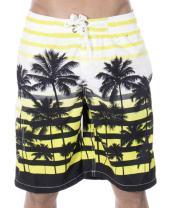 ZENCO Men's Big Coconut Trees Print Swim Trunks Boardshorts, Fluorescein, XL