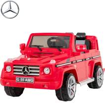 Uenjoy Mercedes Benz AMG G55 12V Kids Electric Ride On Car, Battery Power Motorized SUV, Remote Control, Suspension,Lights, AUX in, Music, Larger Size, Red