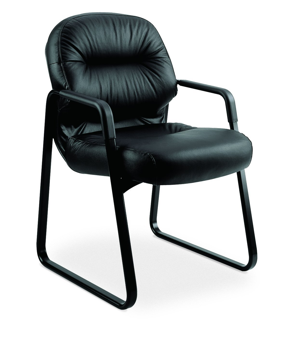 HON 2093SR11T Leather 2090 Pillow-Soft Series Guest Arm Chair, Black