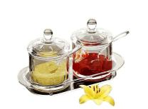 FOLOBE Premium Quality Clear Acrylic condiment set spice box with spoon seasoning salt pepper spice cans kitchen accessories 8.5x3.9x4.96inches