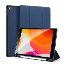 DUX DUCIS iPad 7th Gen 10.2 2019 Case with Pencil Holder, Soft TPU Back and Magnetic Trifold Stand Cover with Auto Sleep/Wake for iPad 7th Generation 10.2 Inch 2019 (Blue)