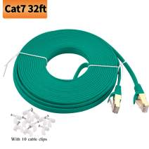 Viodo Cat 7 Ethernet Cable,Flat Internet LAN Cable Cords, Cat7 Shielded (STP) Computer Internet Cable with Clips, Rj45 High Speed Network Cable Faster Than Cat6/Cat5e/Cat5