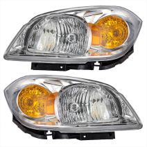 Aftermarket Replacement Driver and Passenger Set Headlights Clear Lenses with Amber Signal Reflectors Compatible with 2005-2010 Cobalt