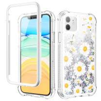 Caka Glitter Case for iPhone 11 Glitter Floral Case with Built in Screen Protector Bling Flower Sparkle Liquid Case for Girls Women Girly Shockproof Protective Case for iPhone 11 6.1 (Daisy)