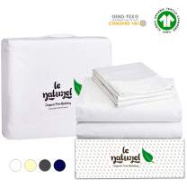 Le Naturel Organic Cotton Bed Sheets Twin - Organic White Sheets - 300 Thread Count Organic Cotton - Organic Cotton Sateen Sheets - Deep Pocket Organic Cotton Sheets - GOTS Certified Sheets