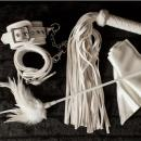 Upscale BDSM Bondage Erotica Gear for Couples Prime, Restraint Bondageromance Kit with Real Fuzzy Handcuffs, Horse Whip, Blindfold, Flogger, Bed Restraints for Sex Play, Gift Boxed, White