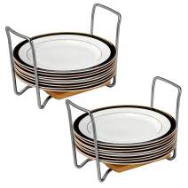 VECELO Plate Holders Organizer Adjustable Size Cabinet Dish Rack,for Kitchen,Dining,Parties,Buffet,Set of 2, Oak