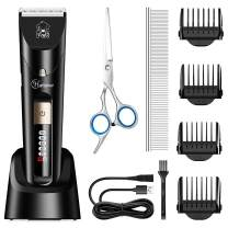Hatteker Dog Clippers Professional Pet Grooming Kit Low Noise Cordless Waterproof Cat Hair Trimmer with Comb Guides Scissors