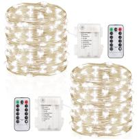 GDEALER 2 Pack Fairy Lights Christmas Decor 33 Ft 100 Led Battery Operated String Lights Christmas Lights with Remote Twinkle Lights Waterproof Firefly Lights for Bedroom Party Wedding Decorations