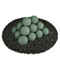 Ceramic Fire Balls   Set of 20   Modern Accessory for Indoor and Outdoor Fire Pits or Fireplaces – Brushed Concrete Look   Slate Green, 3 Inch