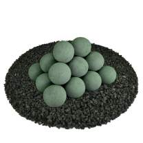 Ceramic Fire Balls | Set of 20 | Modern Accessory for Indoor and Outdoor Fire Pits or Fireplaces – Brushed Concrete Look | Slate Green, 3 Inch