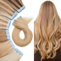 Tape In Hair Extensions Human Hair Remy Tape On Extensions Adhesive Skin Weft Tape In Hair Natural Glue in Hairpieces Full Head Blonde Remy Tape Extensions 14 inch 40g 20pcs #24 Natural Blonde