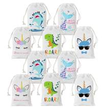 Unicorn Shark Dinosaur Party Favor Bags for Drawstring Goody Candy Bags 5 X 8 inches 10 Pack