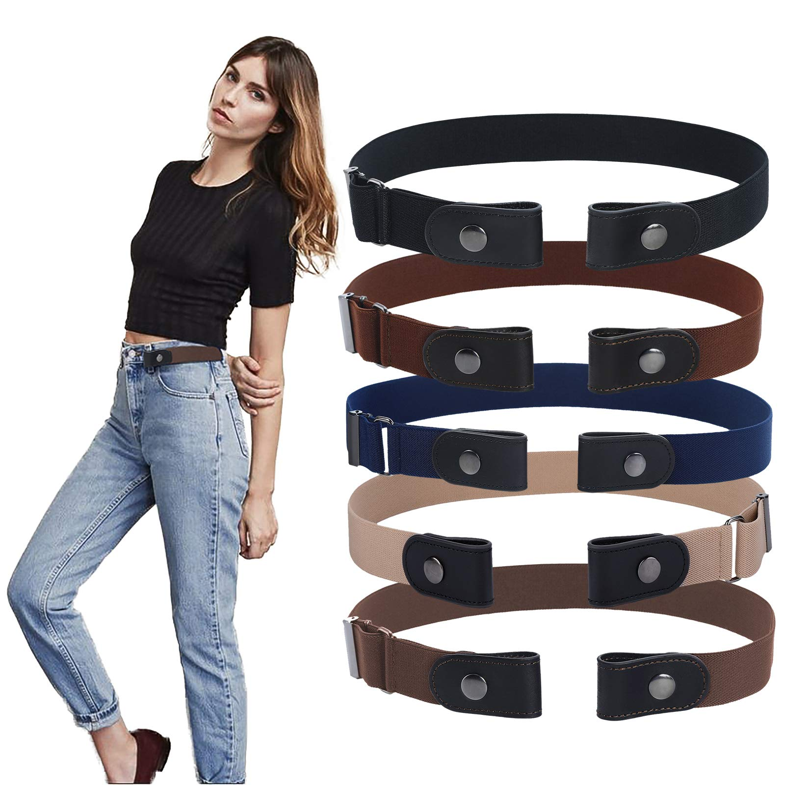 WELROG No Buckle Stretch Belt for Women and Men, Elastic Waist Belt for Jeans Pants Girls