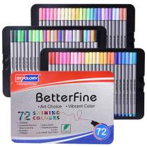 Set of 72 Fine Tip Markers with 0.4mm Tips,Fineliners Fine Point Pens Sure Grip Ergonomic Barrels, Brilliant Assorted Colors for Coloring, Drawing & Detailing Sturdy Metal Storage Case (Set of 72)