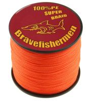 Bravefishermen Super Strong Pe Braided Fishing Line 6LB to 100LB Fluorescent Orange