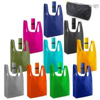 Reusable Grocery Bags Foldable Shopping Totes 10 Pack With Zipper Bags 50LBS XLarge Bags with Elastic eco-friendly Machine Washable Blue Orange Red Green Yellow Navy Teal Moss Black Gray