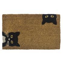 "Entryways Peeping Cats Hand-Stenciled, All-Natural Coconut Fiber Coir Doormat, 18"" X 30"" X .75"""