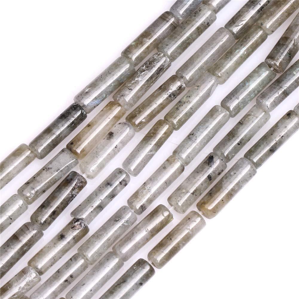 "GEM-Inside Natural 4x13mm Gray Column Tube Labradorite Precious Stone Beads for Jewelry Making Strand 15"""