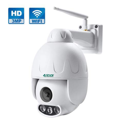 3mp Outdoor Ptz 5x Optical Zoom Wifi Security Camera 4sdot Pan Tilt Wireless Ip Camera With 165ft Night Vision Ip66 Weatherproof Shell Motion Alerts Two Way Audio Ip Camera Support Max 128gb Sd Card