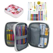 Katech Crochet Hooks Kit with Case, 85-Piece Crochet Hooks Set, Ergonomic Crochet Hooks Knitting Needles Weave Yarn Kits DIY Hand Knitting Art Tools for Beginners and Experienced Crochet Lovers
