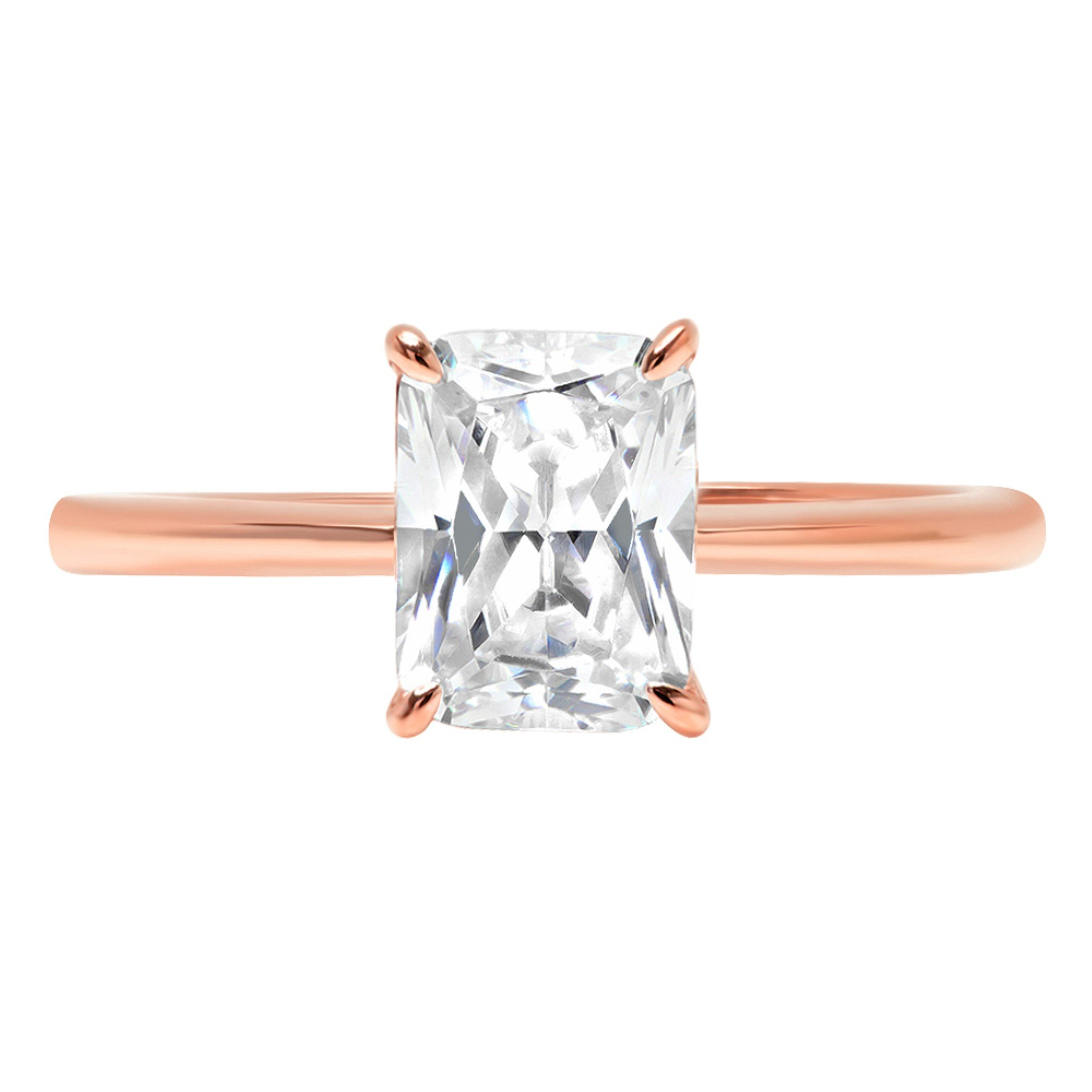 2.5ct Brilliant Radiant Cut Solitaire Highest Quality Moissanite Ideal VVS1 D 4-Prong Engagement Wedding Bridal Promise Anniversary Ring in Solid Real 14k Rose Gold for Women